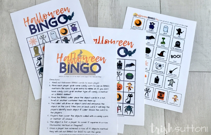 Bingo Rules Sheet with Printable Bingo Cards on a wood backdrop