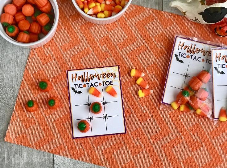 Tic Tac Toe Game Board on orange mat with candy corns and pumpkins; trishsutton.com