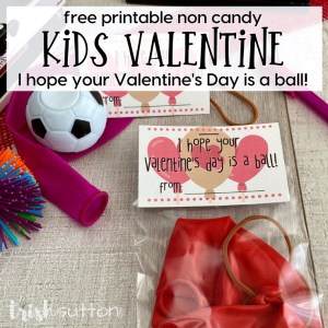 kids valentine ball idea on wood background