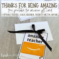 Amazon Gift Card Printable | Thanks For Being Amazing (Teacher + 4 more)