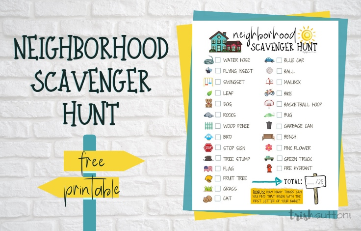This Neighborhood Scavenger Hunt is a great activity for kids of all ages. It can be played individually or with teams and all 25 objects include pictures.