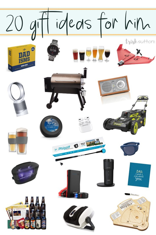 collage of 20 gifts for guys