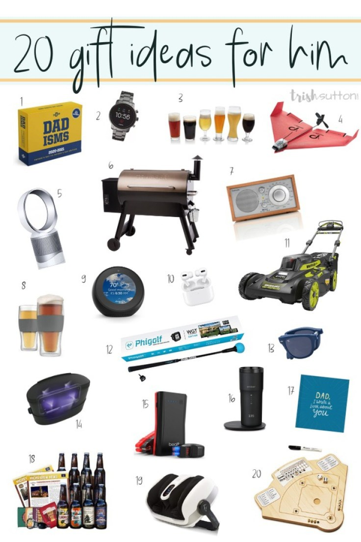 20 gifts for guys on white background