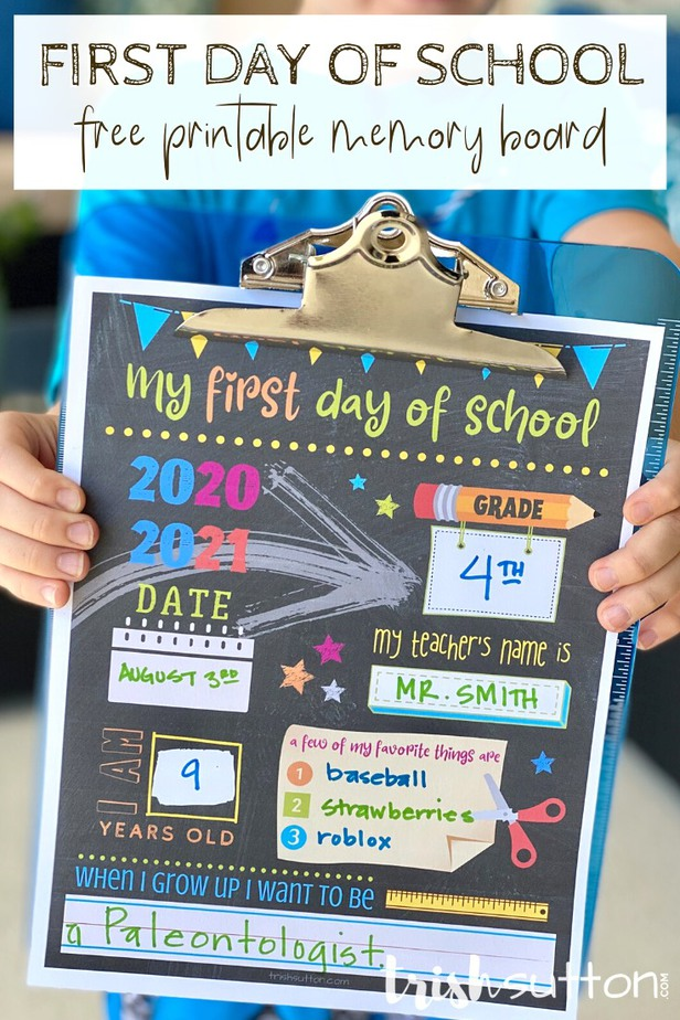 First Day of School Free Printable Memory Board attached to a blue clipboard.