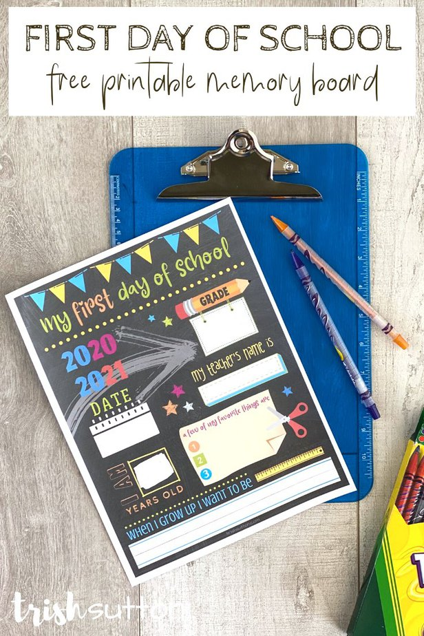 back to school printable laying on a blue clipboard.
