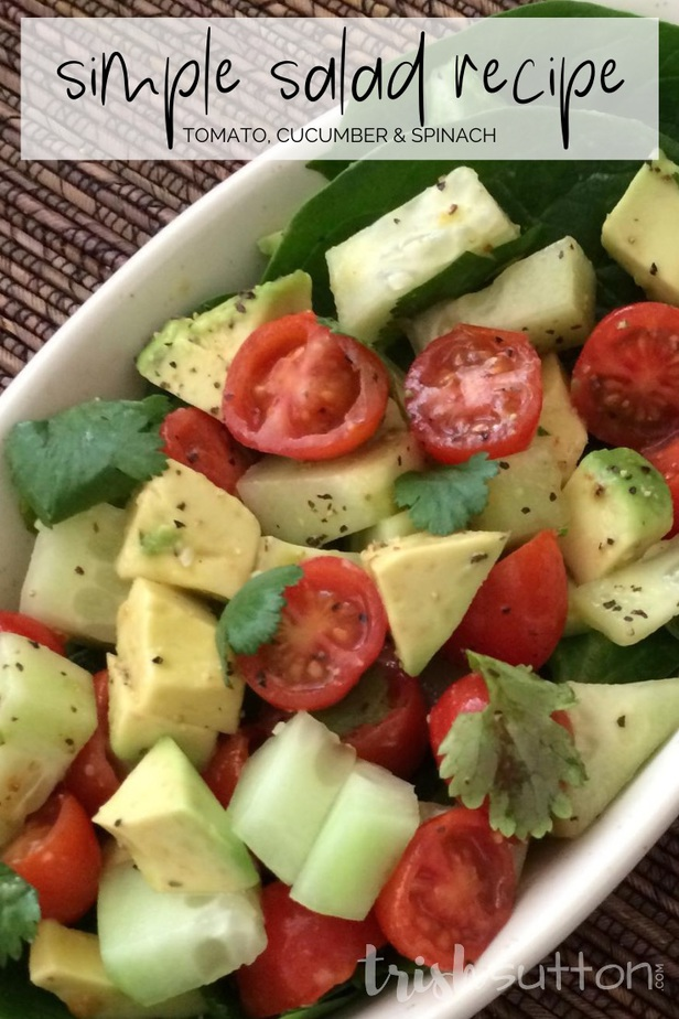 Enjoy this refreshing simple salad recipe is made with a few fresh ingredients. Avocado, tomato, cucumber, cilantro & spinach make up this flavorful dish.