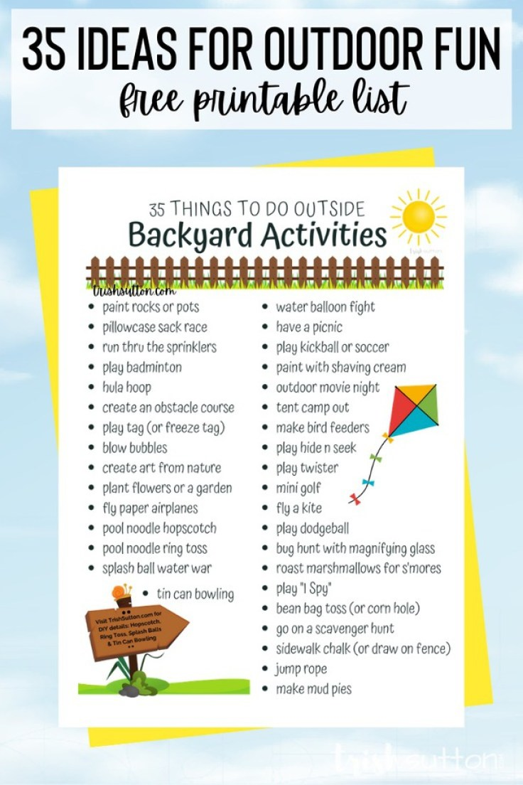 This list of Backyard Activities includes 35 things to do outside! Simply scroll through the list or grab the free printable.