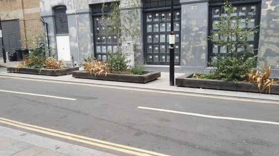 Wardens Grove Planters instead of parking spaces