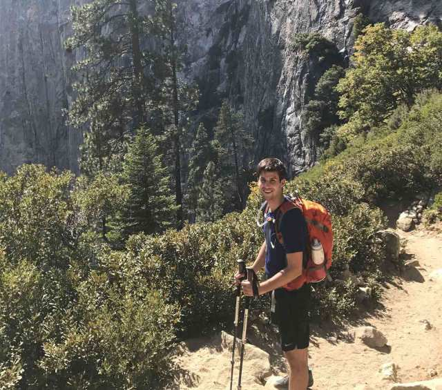 Tristan Mace hiking in Yosemite