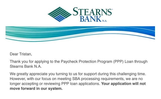 Stearns Bank PPP Email
