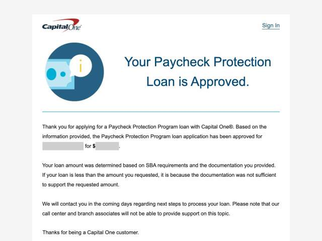 Capital One PPP Loan Approved
