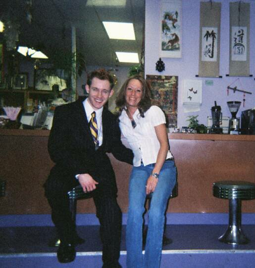 Tour photo - Tristan Rimbaud and Dina Ponticello of Mystic Valley Books and Cafe in St. Louis from Connection Series spirit communication lecture - Feb. 2005. Copyright © New Life Old Soul™