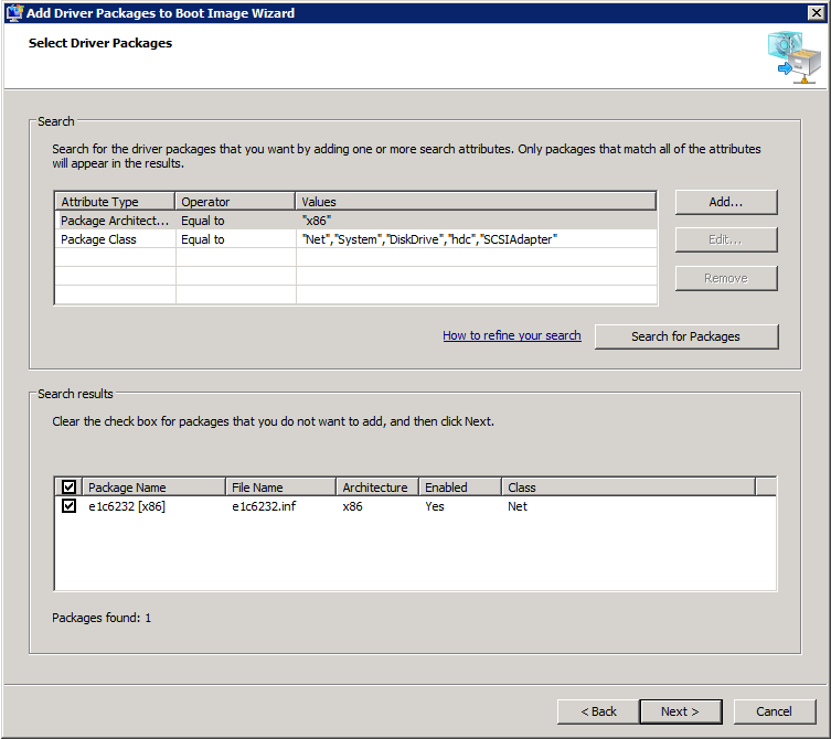 WDS SearchForPackages Adding Drivers to Windows Deployment Services Boot Images