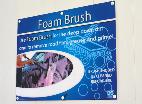 Self Serve Car Wash Bay Foam Brush Signage distributed by Tri State Car Wash Solutions