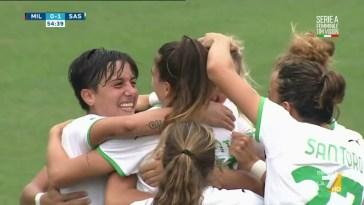Milan-Sassuolo, il raddoppio di Tamar Dongus (Sassuolo) | Serie A femminile
