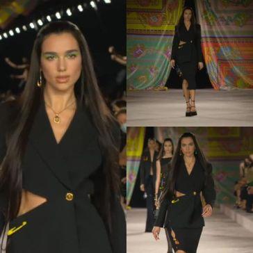 Volto della nuova campagna pubblicitaria, è Dua Lipa ad aprire il Versace Spring Summer 20…