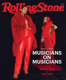 """Potrebbe essere un'immagine raffigurante 2 persone e il seguente testo """"Roll RollingStone SPECIAL ISSUE MUSICIANS ON MUSICIANS STARRING ALICIA KEYS KEHLANI"""""""