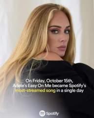 """""""Venerdì, 15 Ottobre, """"Easy On Me"""" di Adele è diventato il brano più riprodotto in un solo…"""