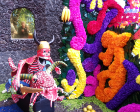 See me in the mirror on left. Ofrenda at Frida Kahlo museum.