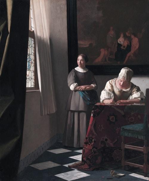 """Bức """"Quý cô viết thư và người hầu gái"""": Sự phổ quát bên trong những điều bình dị"""