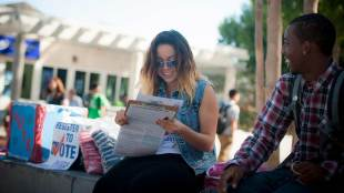 SOVAC volunteers work to register UCSD students to vote. (Erik Jepsen/UC San Diego Publications)