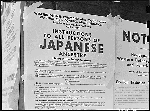 Japanese evacuation notices found in San Francisco in April 1942. Photo courtesy of archives.gov.