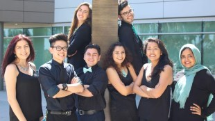 From left to right, Students Determined candidates Natasha H Morgan-Witts, Selena Friedman, Freddy Arriola, Ronald Huang, Brenda B. Alvarez, Miguel Tapia, Sné Lochan, and Aseel Sherif Ali. Photo courtesy of Students Determined.