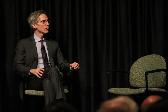 Thomas Healy speaks to a crowd in Price Center East on Wednesday, Nov. 8. AJ Peterson / The Triton.