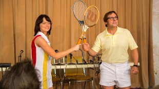 Emma Stone and Steve Carell as Billie Jean King and Bobby Riggs. Photo courtesy of Fox Searchlight.