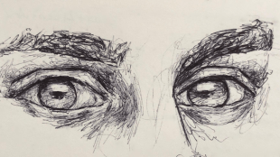 Sketched eyes by Mika Aubin.