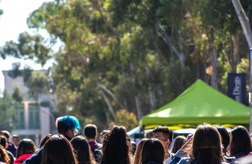 Photo of students on Library Walk at UC San Diego.