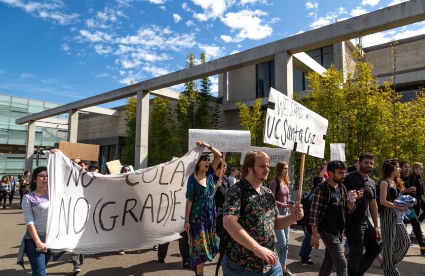 Students picketing and holding a banner in solidarity with the UC Santa Cruz Strike on February 21, 2020