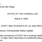 Screenshot of the email send by UCSD Chancellor Pradeep Khosla regarding COVID-19 (coronavirus)