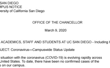Screenshot of the email send by UCSD Chancellor Pradeep Khosla regarding COVID-19 (coronavirus)