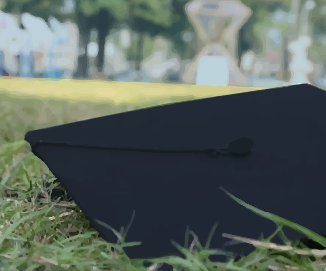 A graduation cap in the grass.