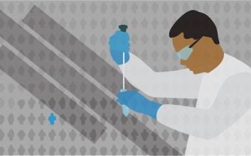 Illustration of a student pipetting.