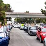 Photo of car caravan BLM protests in La Jolla.