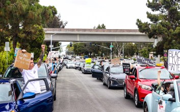 Photo of car caravan BLM protests in La Jolla.