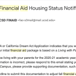 A screenshot of the email from the Financial Aid and Scholarships Office