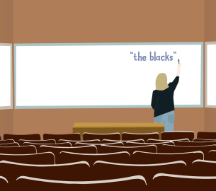 """An illustration of a professor writing """"The Blacks"""" on a whiteboard."""
