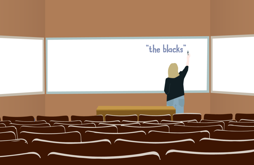 "An illustration of a professor writing ""The Blacks"" on a whiteboard."