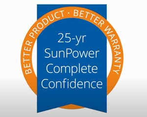 SunPower 25 years total confidence service warranty
