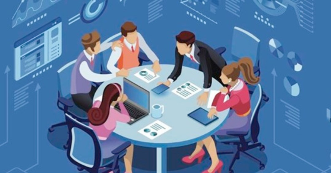 illustration of people around a conference room table