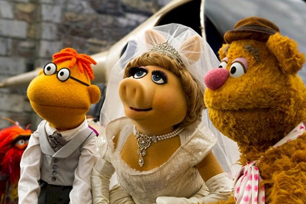 """Scooter, Miss PIggy and Fozzie from """"Muppets Most Wanted."""" PHOTO: Disney"""