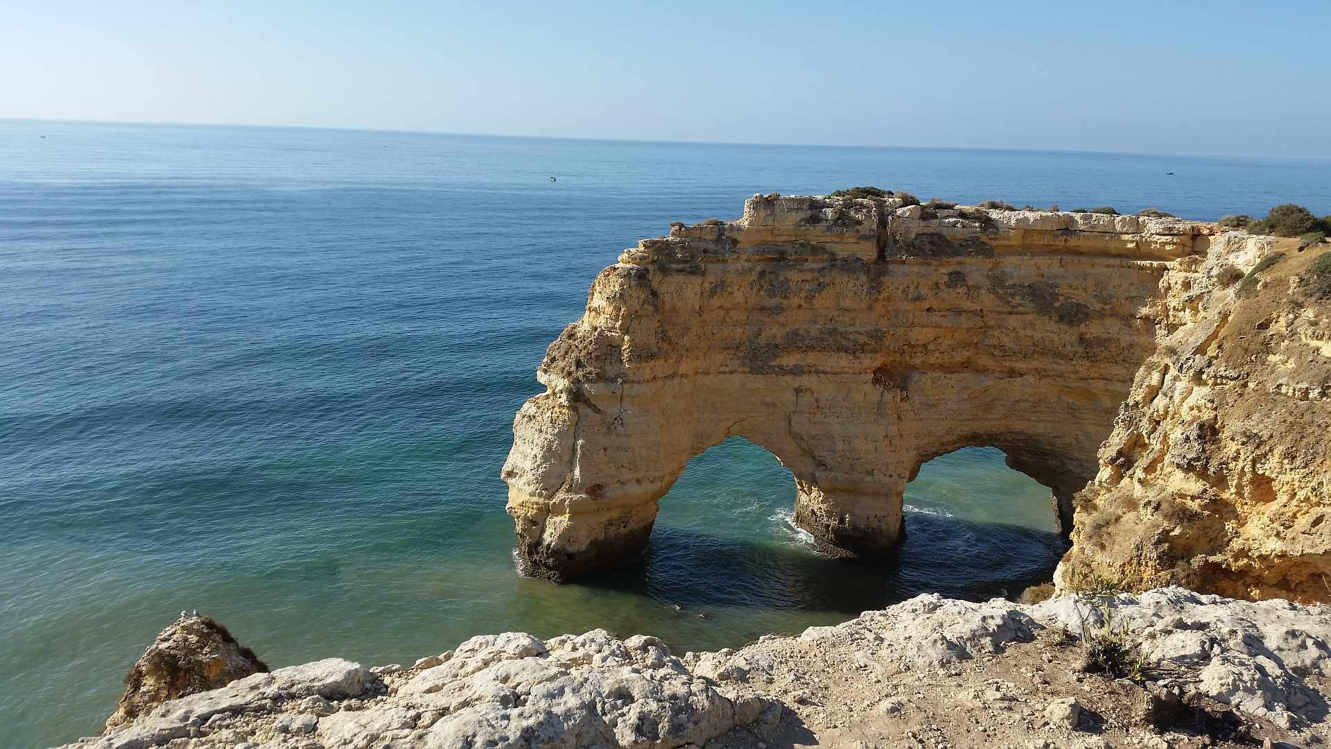 Lagao - Algarve view over the rocks and natural bridge