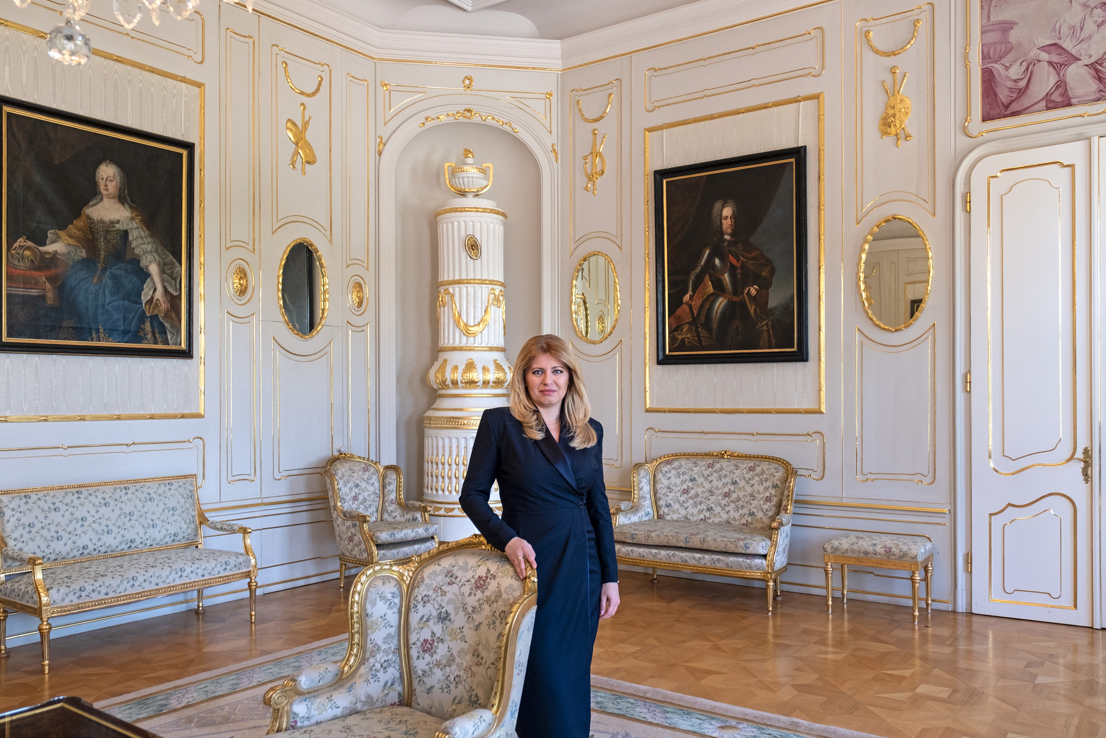President Zuzana Čaputová stands in the Grassalkovich Palace, the historic residence of Slovak presidents, on June 23 in Bratislava. One year after Čaputová assumed office, her tenure is widely viewed as highly successful, in part because of her outstanding leadership during the COVID-19 pandemic. She has also earned many plaudits for her eloquent calls for all people, including ethnic minorities, to join together to make much-needed important improvements in education, health care, the environment and the judicial system.