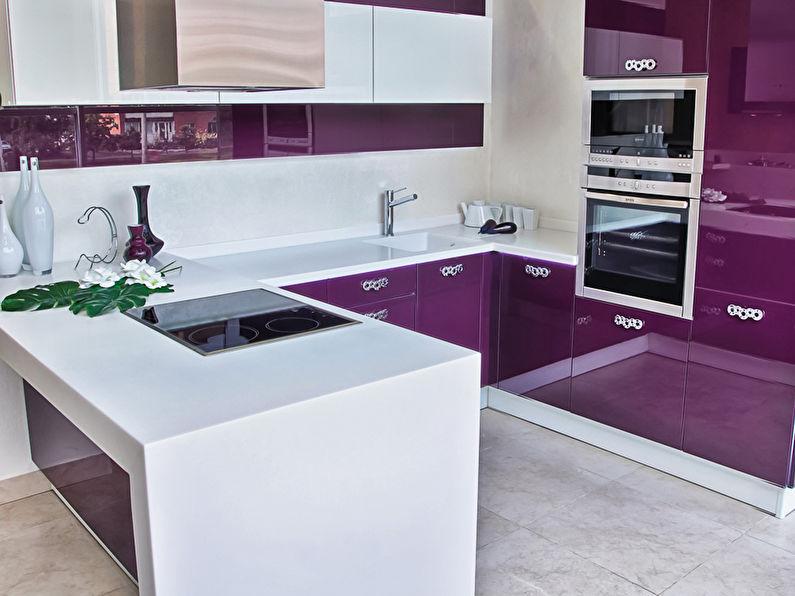 Белый с фиолетовым - Дизайн кухни 9 кв.м.