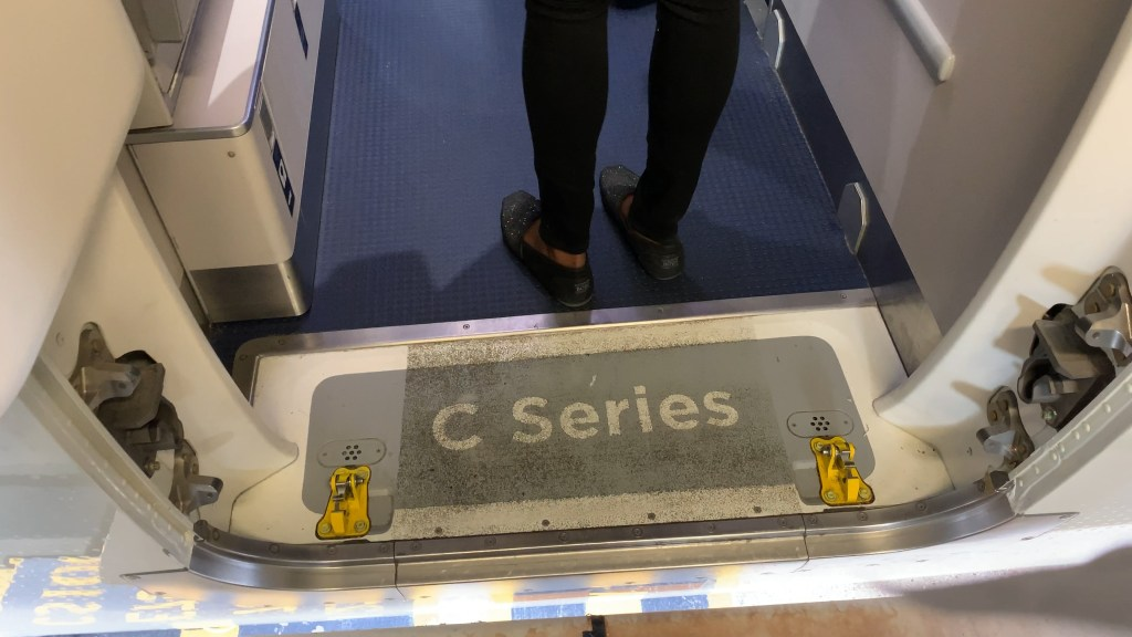 bombardier C Series label on the Airbus A220 threshold