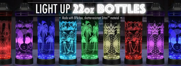 Sip in style! With 2 sizes and 20 fun designs to choose from, POP Lights water bottles by YEW Stuff are the coolest way to stay hydrated! When not being used, the bottle with LED base doubles as an awesome nightlight. (PRNewsfoto/YEW Stuff)