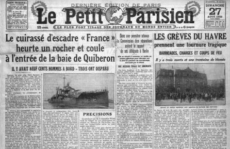 Une du journal Le Petit Parisien le 27 août 1922.
